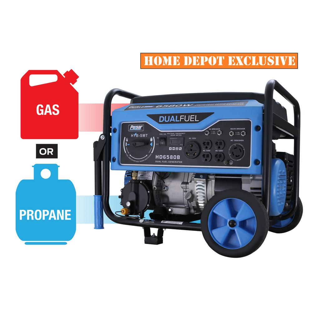 Pulsar 6,580/5,500Watts Dual Fuel Gas/Propane Powered Recoil Start Portable Generator w/ CARB Compliant 274 cc Engine
