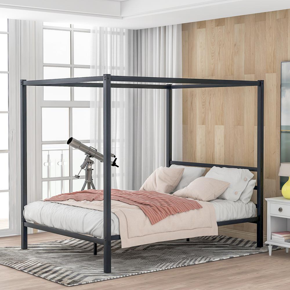 Black Metal Framed Canopy Platform Bed, Queen Bed No Box Spring