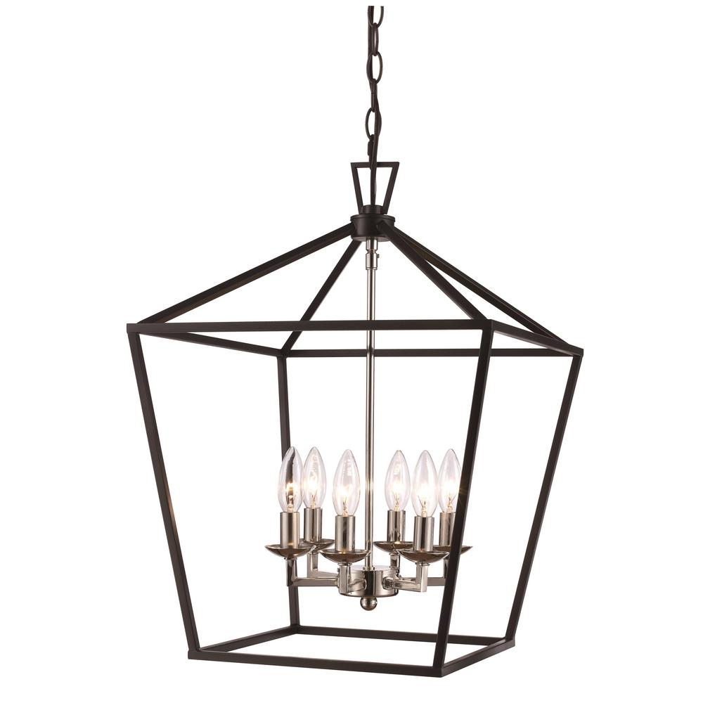 Bel Air Lighting Lacey 6 Light Polished Chrome And Black Pendant
