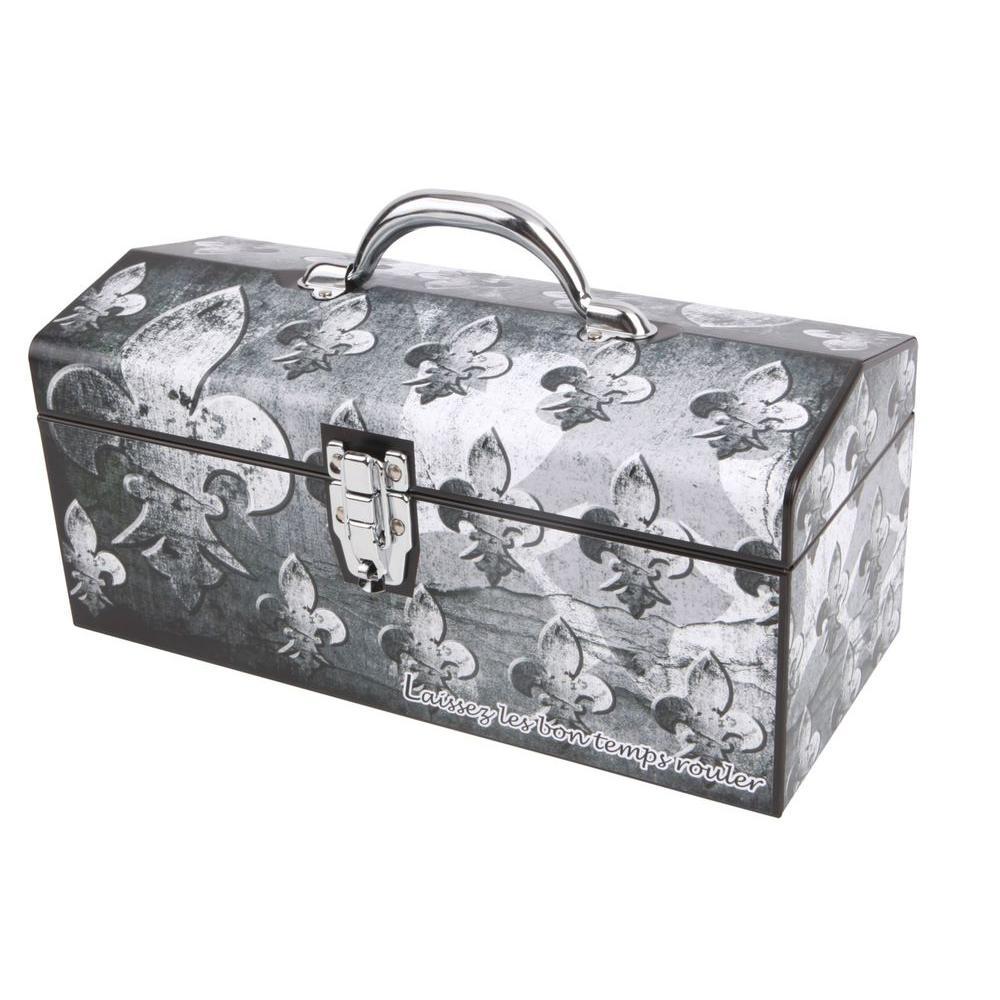16 in. Fleur De Lis Art Tool Box, Grey