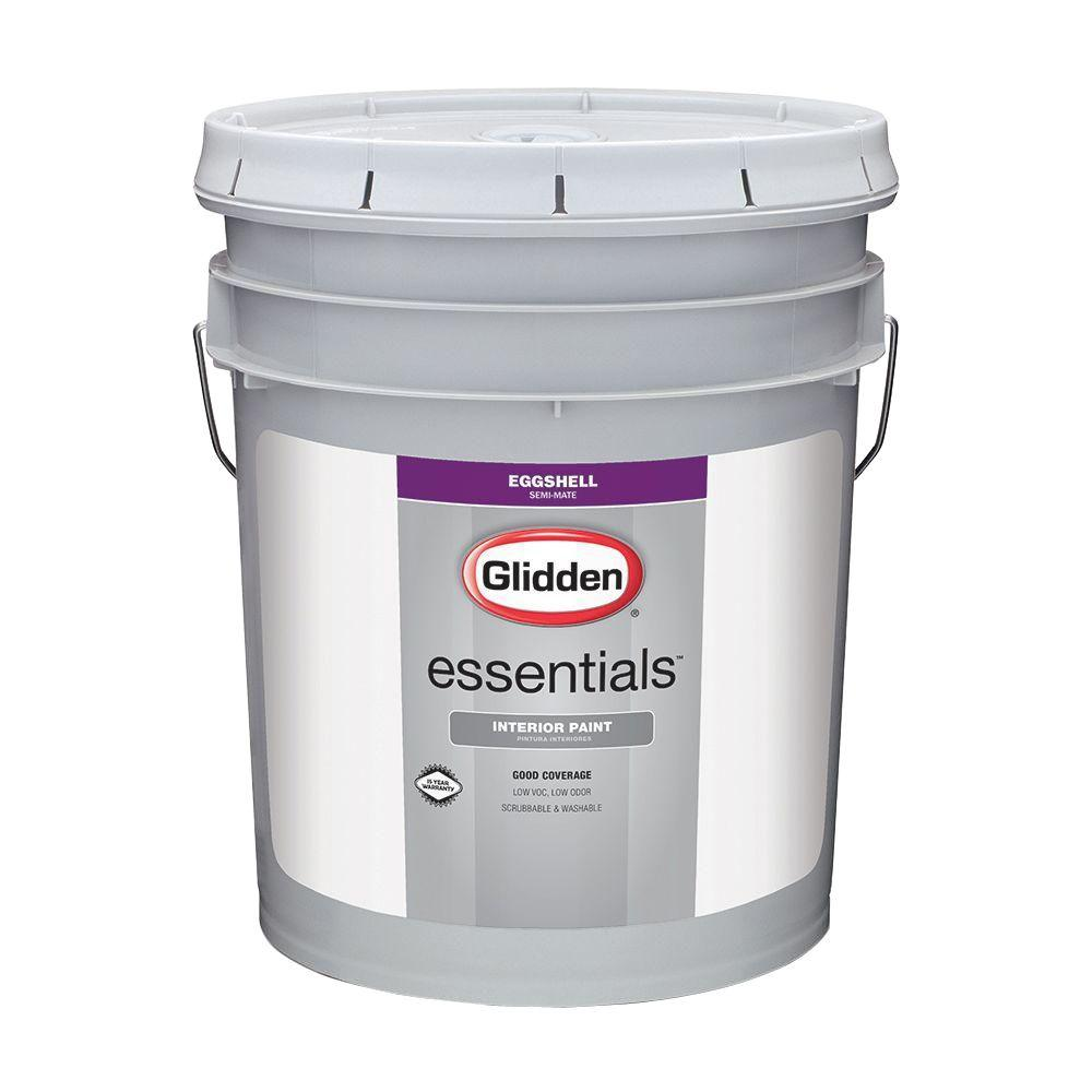 Interior Paint Colors Home Depot: Glidden Essentials 5 Gal. White Eggshell Interior Paint