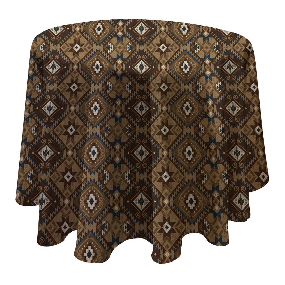 Santa Fe 70 inch W x 70 inch L Grey Round Single Vinyl Tablecloth by