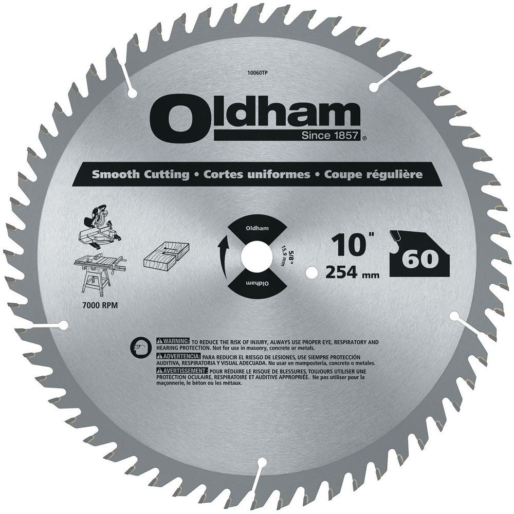 Oldham 10 in. 60-Tooth Industrial Carbide Finishing Saw Blade
