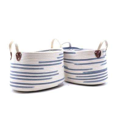 10 in. D x 15 in. W x 9 in. H Modern Woven Fabric Baskets (Set of 2)