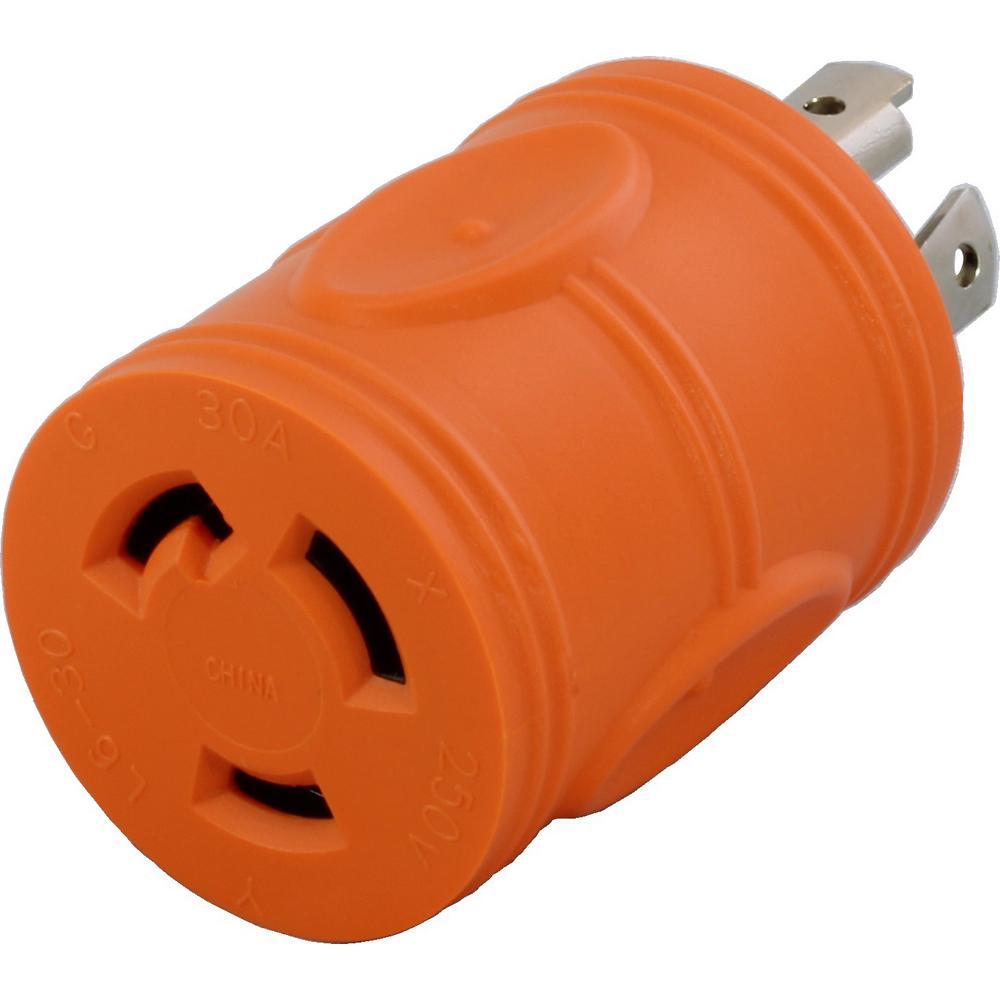 Locking Adapter NEMA L14-30P 30Amp 125/250Volt 4Prong Locking Plug to L6-30R 3Prong 30Amp 250Volt Locking Female