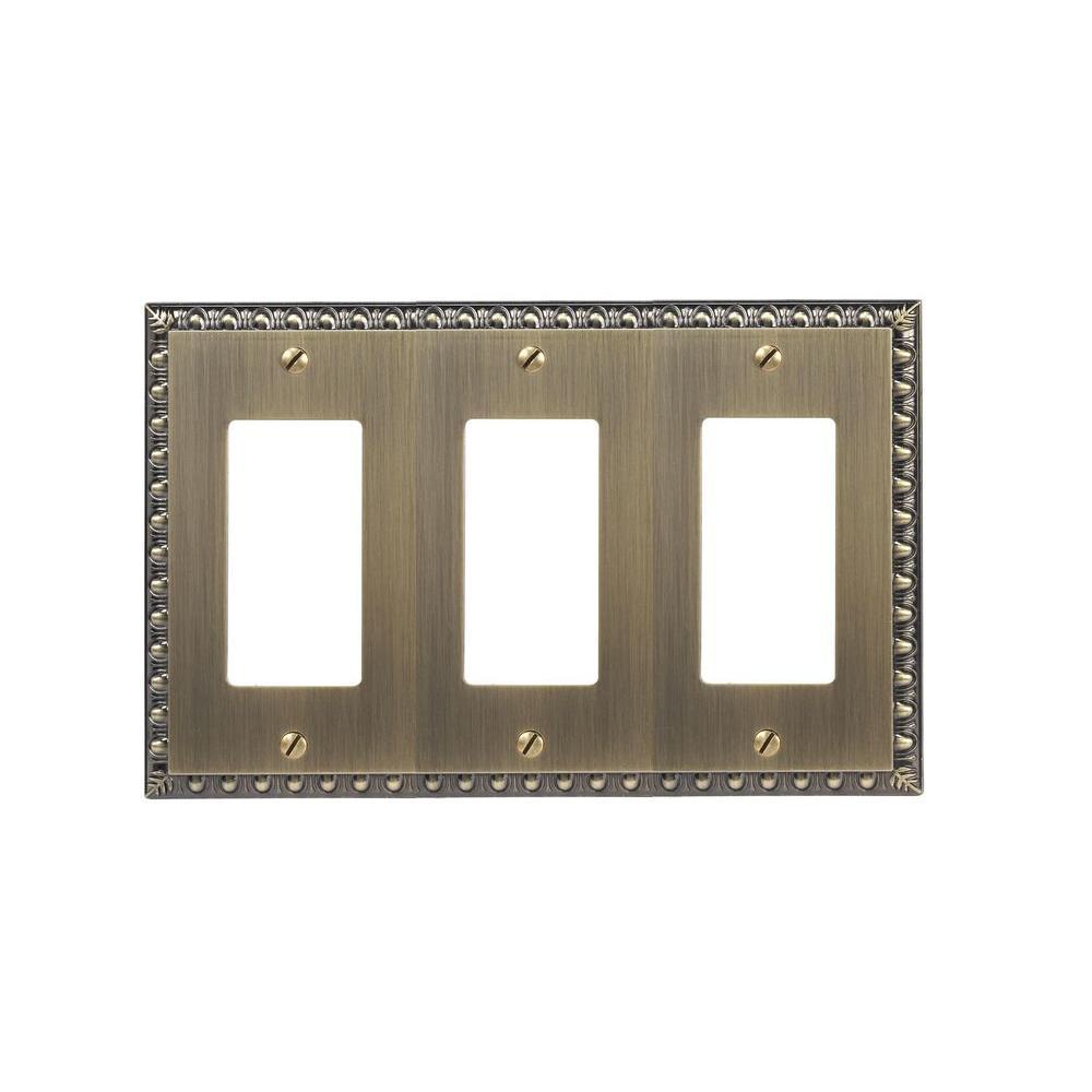 Renaissance 3 Decora Wall Plate - Brushed Brass