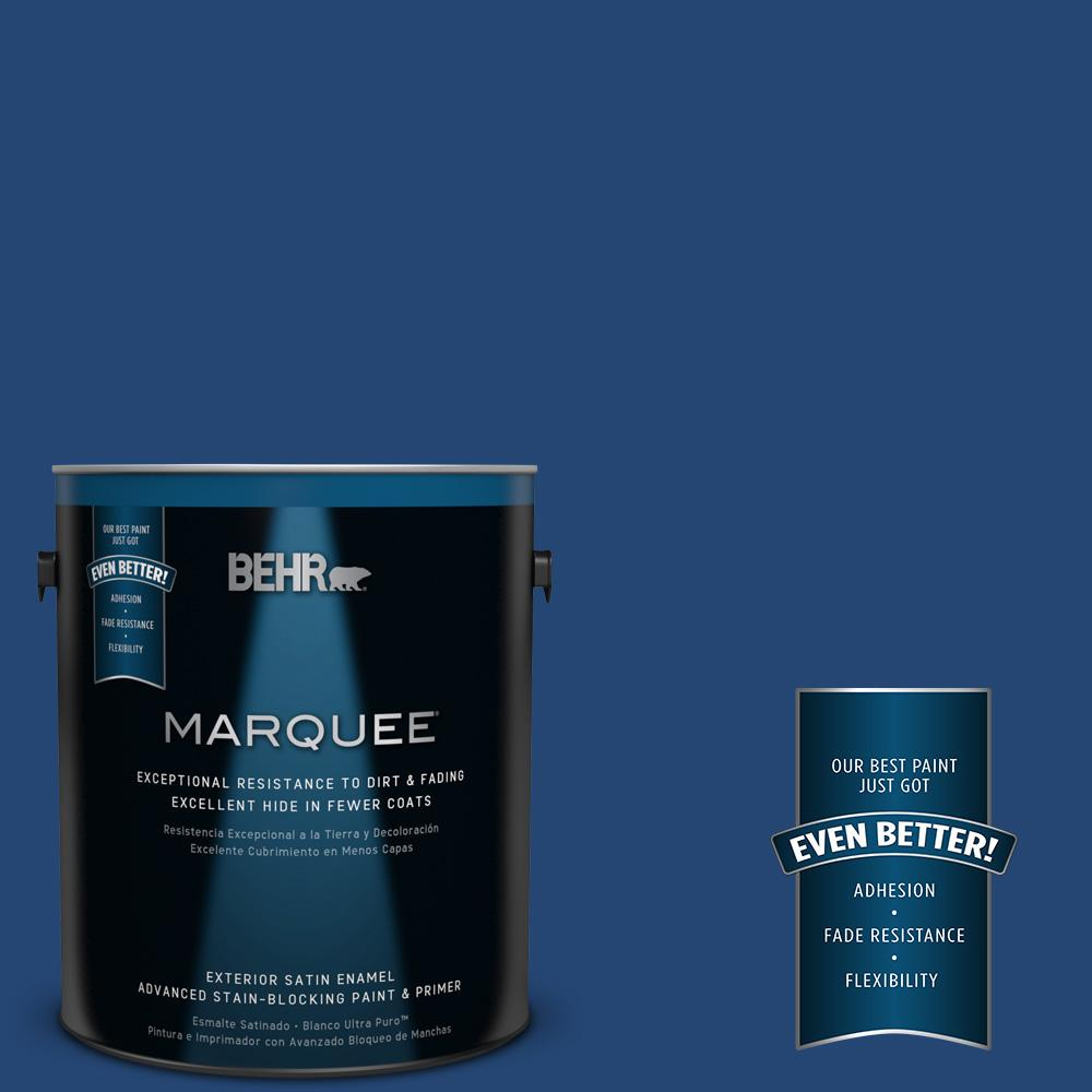 BEHR MARQUEE 1-gal. #S-H-580 Navy Blue Satin Enamel Exterior Paint