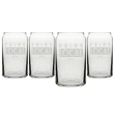 """Drink Local"" 16 oz. Craft Beer Can Glasses"