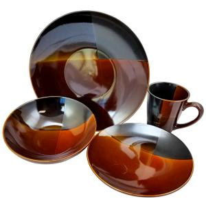 Click here to buy Gibson Convergence 16-Piece Brown Dinnerware Set by Gibson.