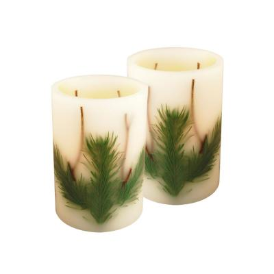 Real Wax 6 in. H Pine Needle LED Candle (Set of 2)