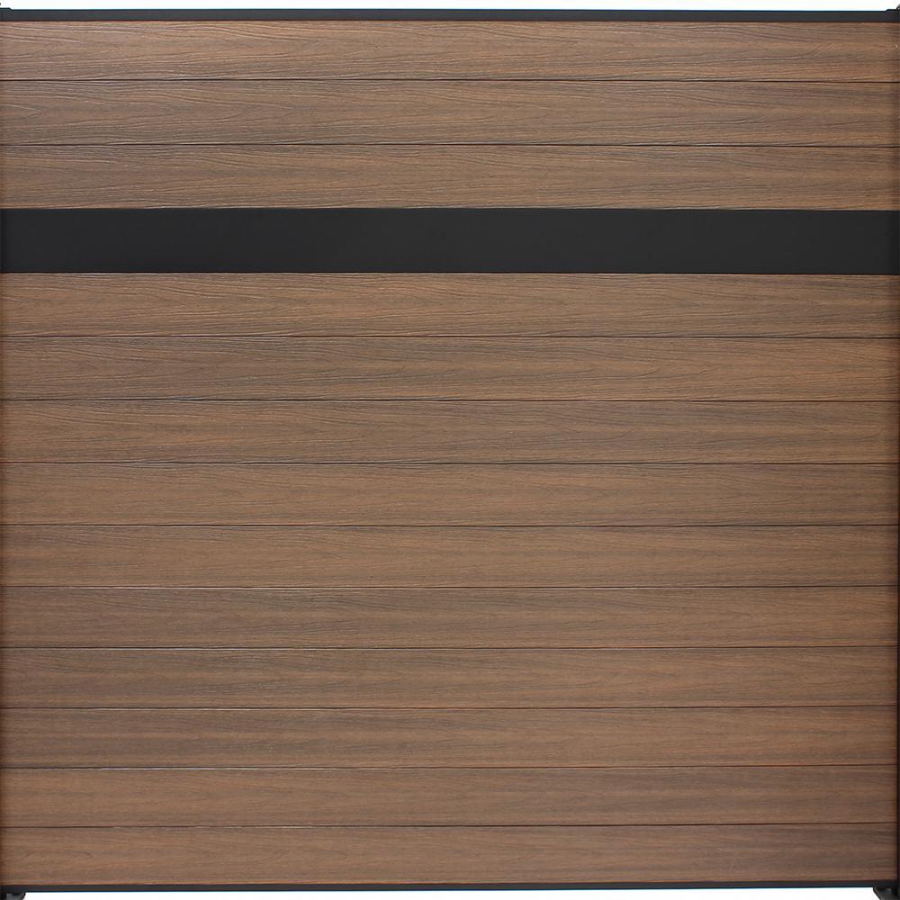 Euro Style 6 ft. H x 6 ft. W Estate King Cedar Aluminum/Composite Horizontal Fence Section