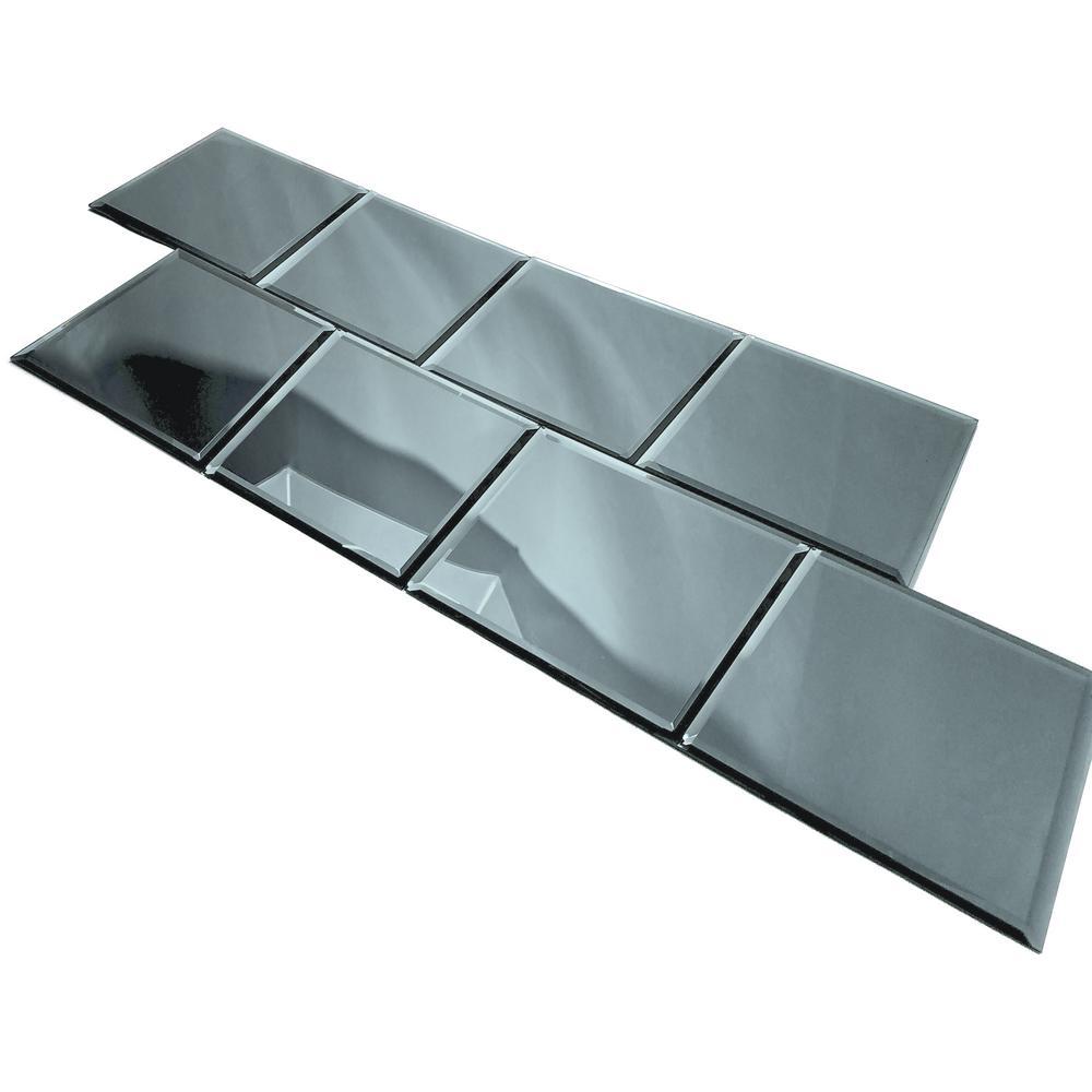 "ABOLOS Square 8"" x 8"" Gray Blue Beveled Glossy Glass Mirror Peel & Stick Decorative Bathroom Wall Tile Backsplash (4 Pc/Pk)"