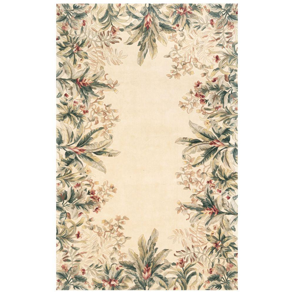 Kas Rugs Lush Border Tropics Ivory 3 ft. 6 in. x 5 ft. 6 in. Area Rug
