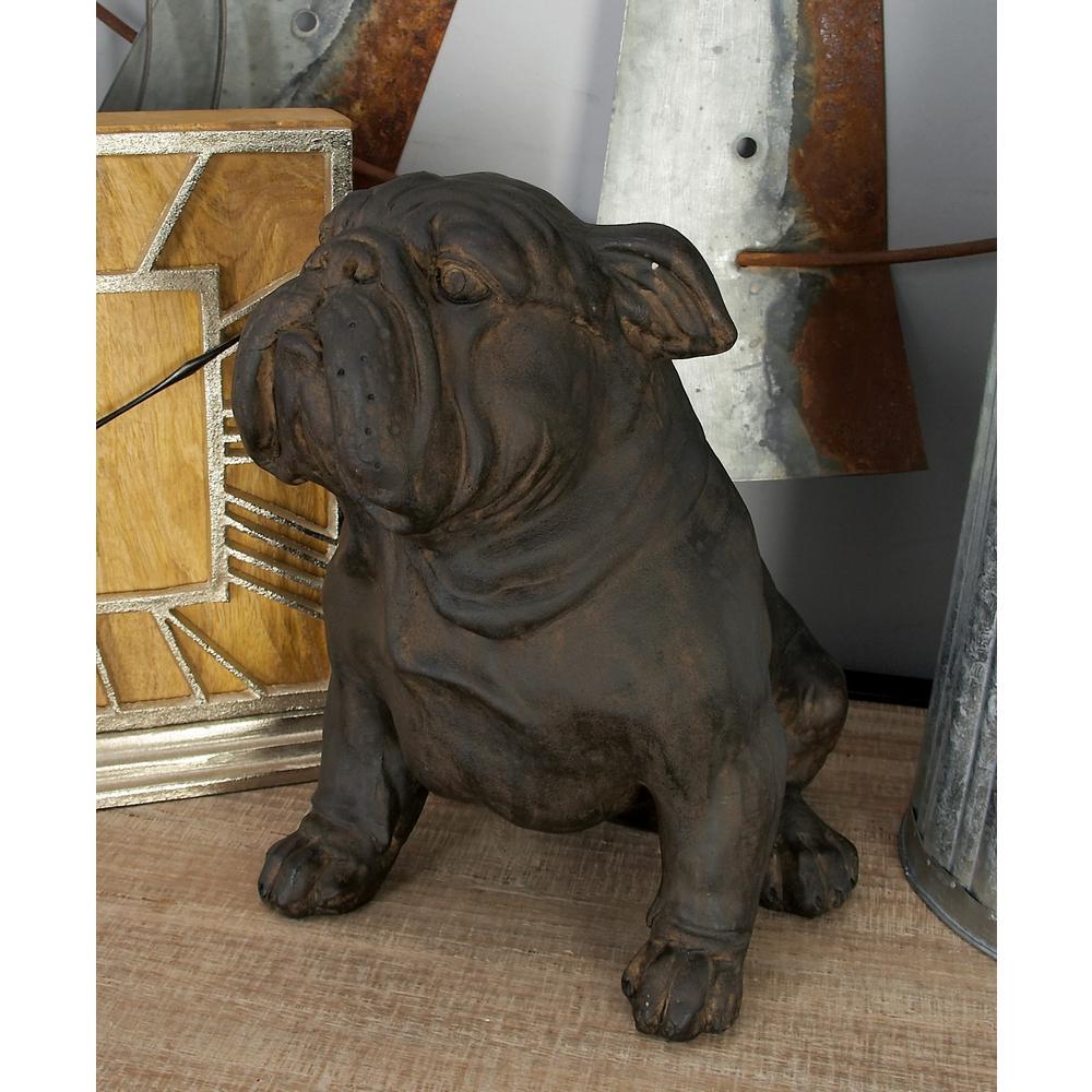 Polystone Sitting Bulldog Sculpture