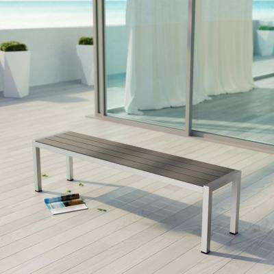 Shore Patio Aluminum Outdoor Bench in Silver Gray