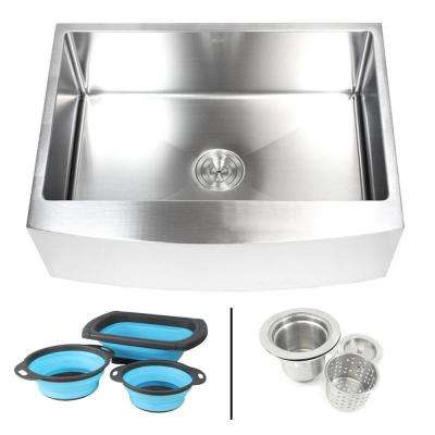 Farmhouse/Apron-Front 16-Gauge Stainless Steel 30 in. Curve Front Single Bowl Kitchen Sink with