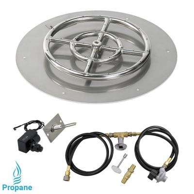 18 in. Round Stainless Steel Flat Pan with Spark Ignition Kit - Propane (12 in. Ring Burner Included)