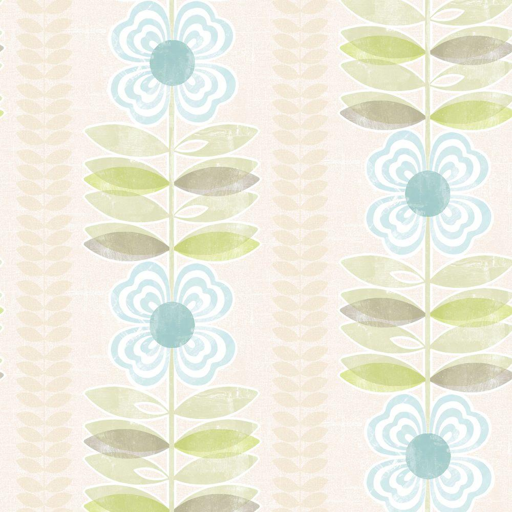 Beacon House Flora Blue Modern Floral Stripe Wallpaper Sample