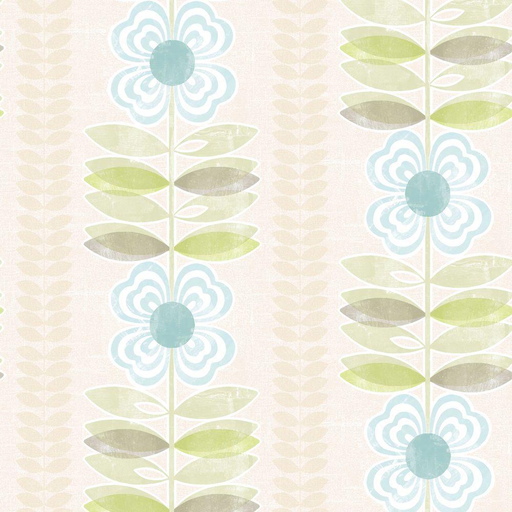 Flora Blue Modern Floral Stripe Wallpaper Sample
