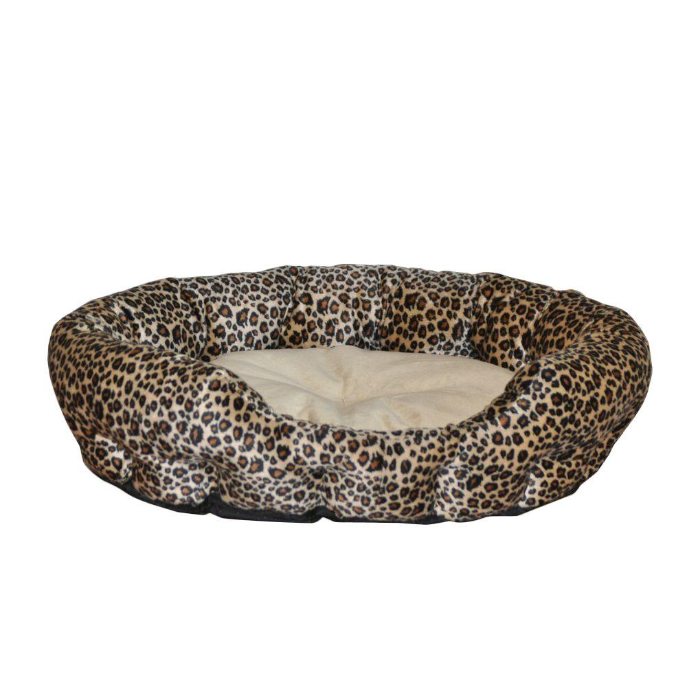 K H Pet Products Self Warming Nuzzle Nest Small Brown Leopard Print Cat Bed
