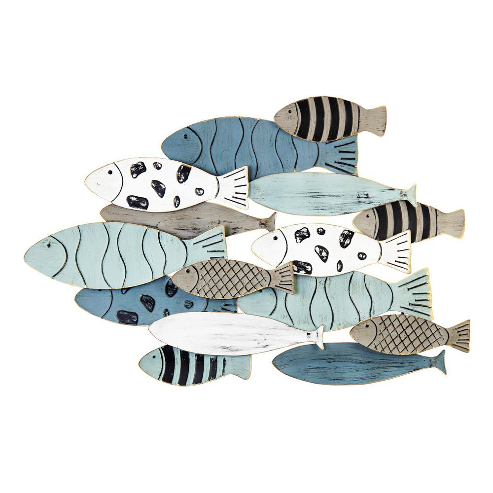 Stratton Home Decor Modern School Of Fish Metal Wall Decor S33460 The Home Depot