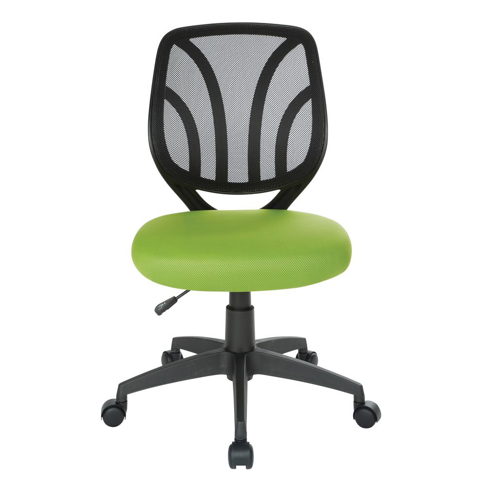 Green Mesh Screen Back Armless Task Chair with Dual Wheel Carpet