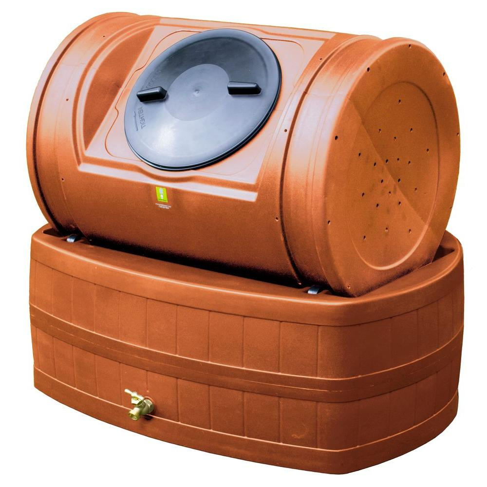 Good Ideas 7 cu. ft. Compost Tumbler with 47 gal. Rain Barrel Base in Terra Cotta