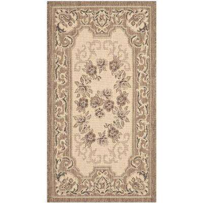 Courtyard Cream/Brown 2 ft. x 4 ft. Indoor/Outdoor Area Rug