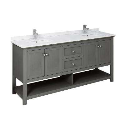 Manchester Regal 72 in. W Bathroom Double Vanity in Gray Wood with Ceramic Vanity Top in White with White Basins