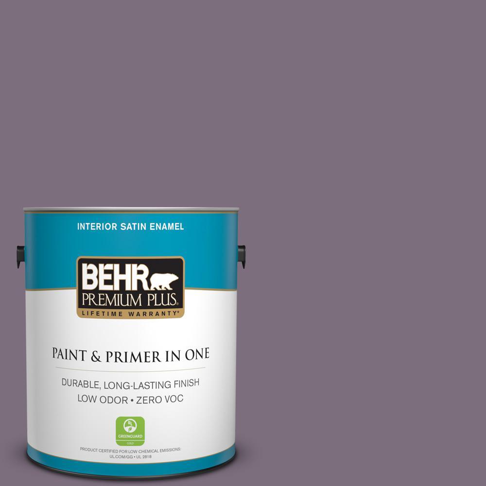 1 gal. #PPU17-17 Plum Shadow Zero VOC Satin Enamel Interior Paint