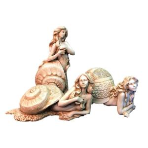 enjoyable home depot garden statues. Antique White Sexy Sea Snail Mermaids in Her Exotic Shell Nautical Beach  Statue Moonrays Multi Colored Glitter Garden Stone 4 Pack 91667MC The