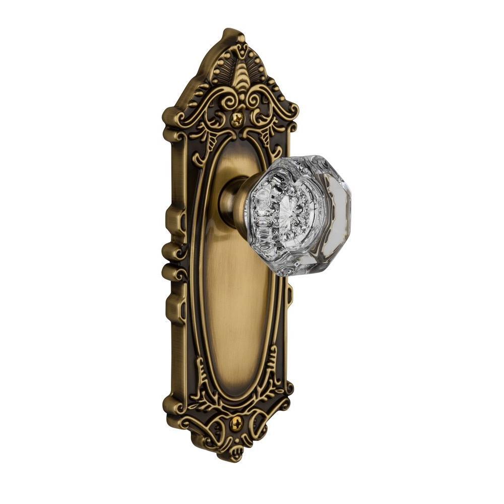 Grandeur Grande Victorian Vintage Bronze Plate with Passage Chambord Crystal Knob