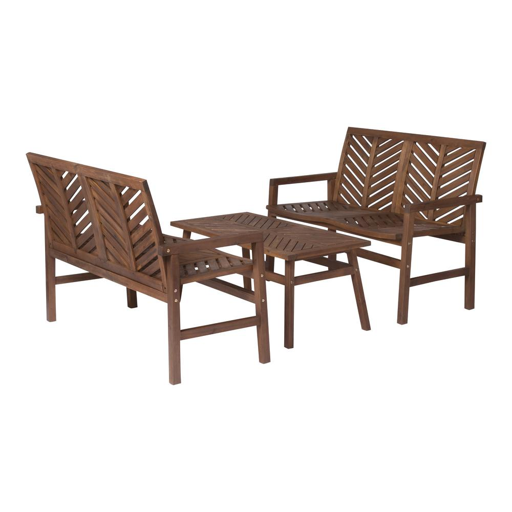Magnificent Walker Edison Furniture Company Chevron Dark Brown 3 Piece Wood Outdoor Patio Loveseat Chat Set Ocoug Best Dining Table And Chair Ideas Images Ocougorg