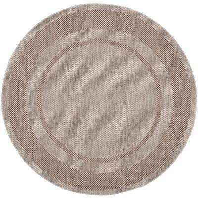 Courtyard Beige/Brown 7 ft. x 7 ft. Indoor/Outdoor Round Area Rug