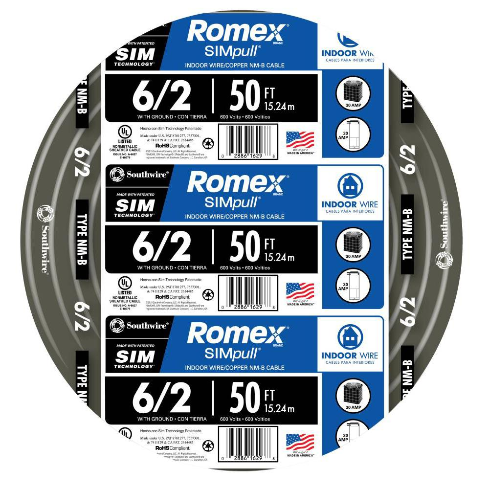 Southwire 50 ft. 6/2 Stranded Romex SIMpull CU NM-B W/G Wire ...