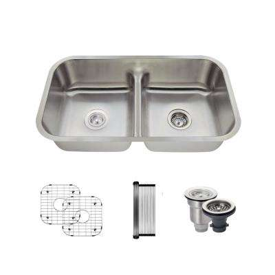All-in-One Undermount Stainless Steel 32-1/2 in. 50/50 Double Bowl Kitchen Sink