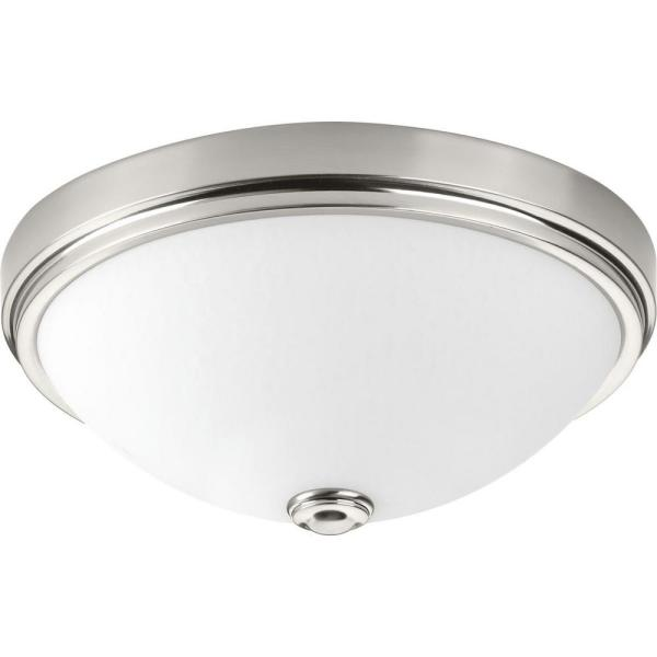 13 in. Linen Collection 21 -Watt Brushed Nickel Integrated LED Flush Mount