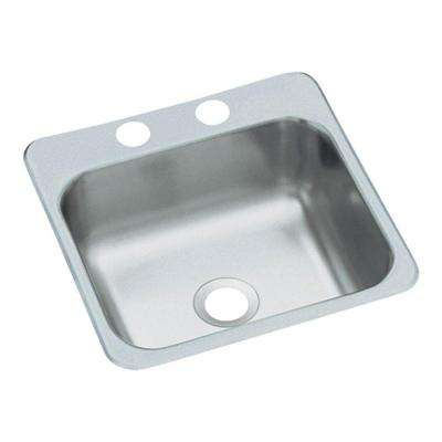 Drop-in Stainless Steel 15 in. 2-Hole Single Bowl Kitchen Sink