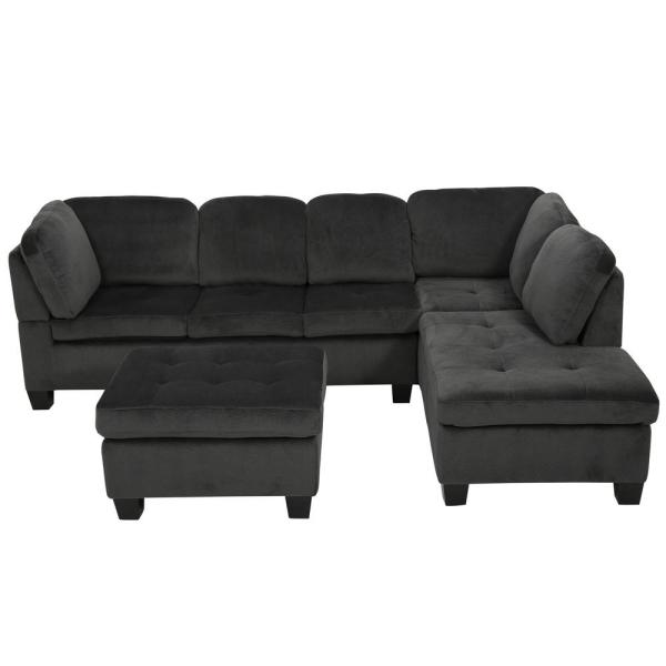 Noble House 3 Piece Charcoal Fabric 6 Seater L Shaped Right Facing Sectional Sofa With Ottoman 7669 The Home Depot