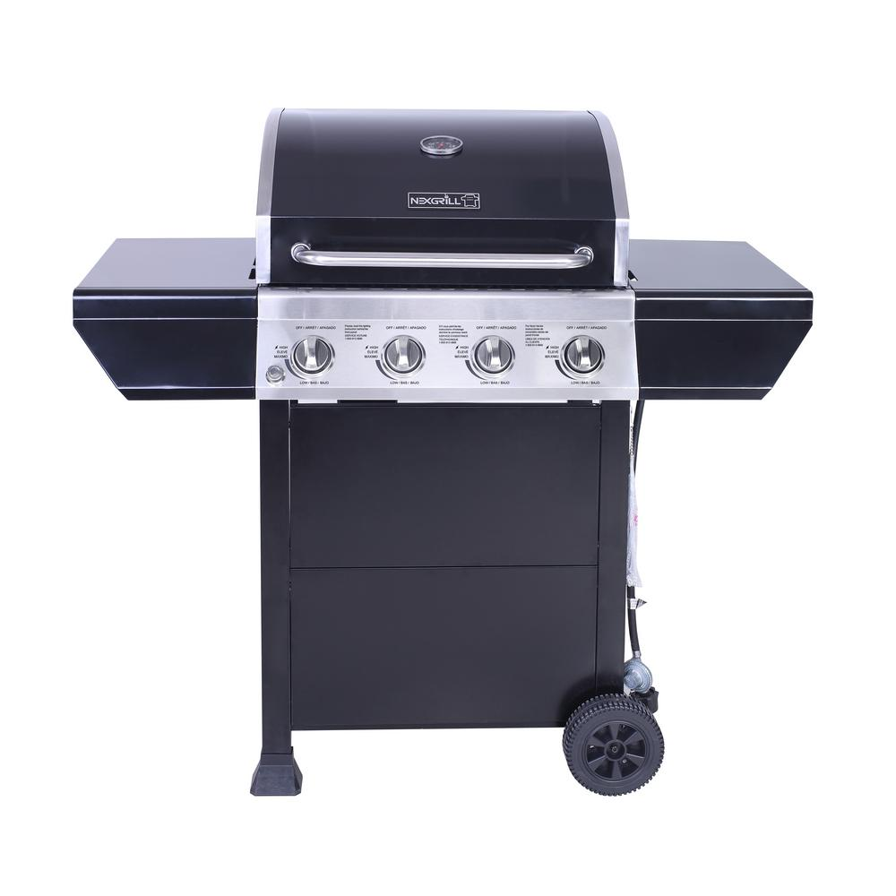 4-Burner Propane Gas Grill in Black with Stainless Steel Control Panel