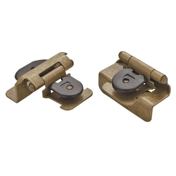 Burnished Brass Double Demountable Half Overlay Hinge (2-Pack)