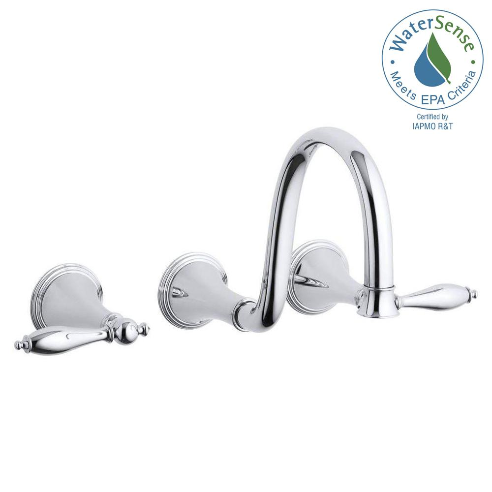 KOHLER Finial Wall Mount 2-Handle Low-Arc Bathroom Faucet in Polished Chrome (Valve Not Included)