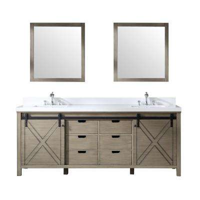 Marsyas 84 in. Double Bath Vanity in Ash Grey w/ White Quartz Top w/ White Square Sinks and 34 in. Mirrors