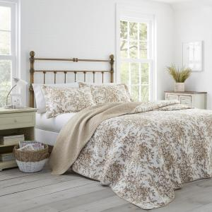 Laura Ashley Bedford 3 Piece Mocha Full Queen Quilt Set