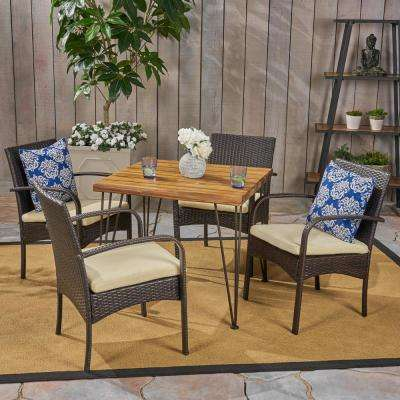 Clayton Multi-Brown 5-Piece Wood and Wicker Outdoor Dining Set with Cream Cushions