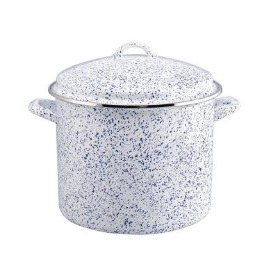 Enamel-On-Steel 12 qt. Steel Stock Pot in White with Lid