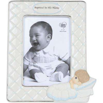 4 in. x 6 in. Baptism Boy With Baby Cream and Blue Gloss Porcelain Picture Frame