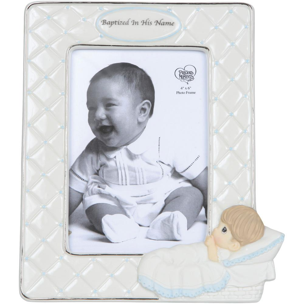 Precious Moments 4 in. x 6 in. Baptism Boy With Baby Cream and Blue ...