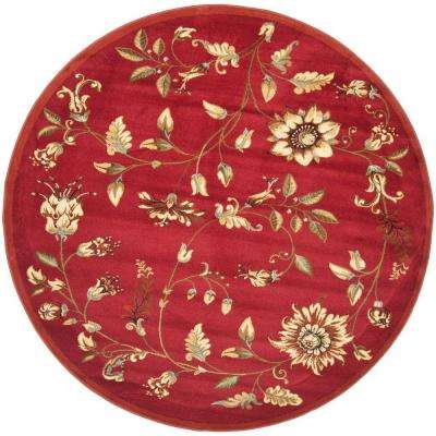 Lyndhurst Red/Multi 5 ft. 3 in. x 5 ft. 3 in. Round Area Rug