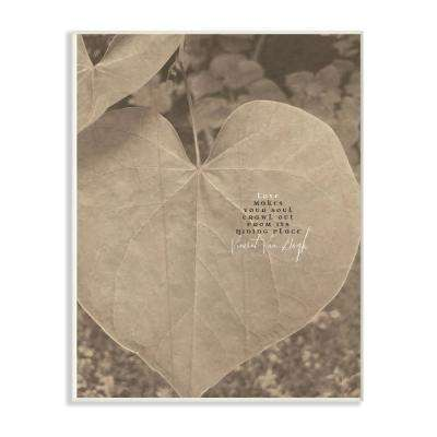 "12.5 in. x 18.5 in. ""Van Gogh Love Quote Typography Sepia Plant Photography"" by Tammy Apple Wood Wall Art"